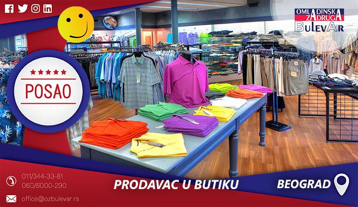 Pomoćni prodavac u butiku | Posao, Beograd