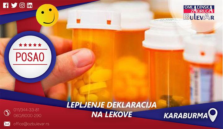 Lepljenje deklaracija na lekove | Posao, Mirijevo