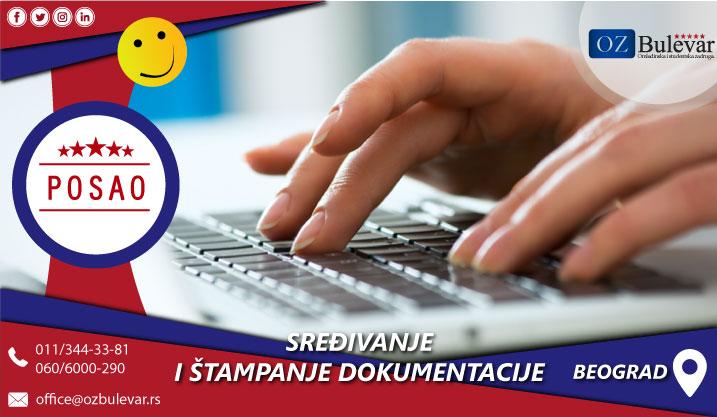 Sređivanje i štampanje dokumentacije   Posao, Beograd