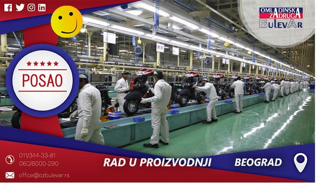 Rad u proizvodnji | Oglasi za posao, Beograd
