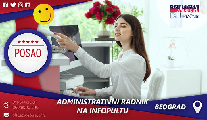 Administrativni radnik na infopultu | Oglasi za posao, Beograd