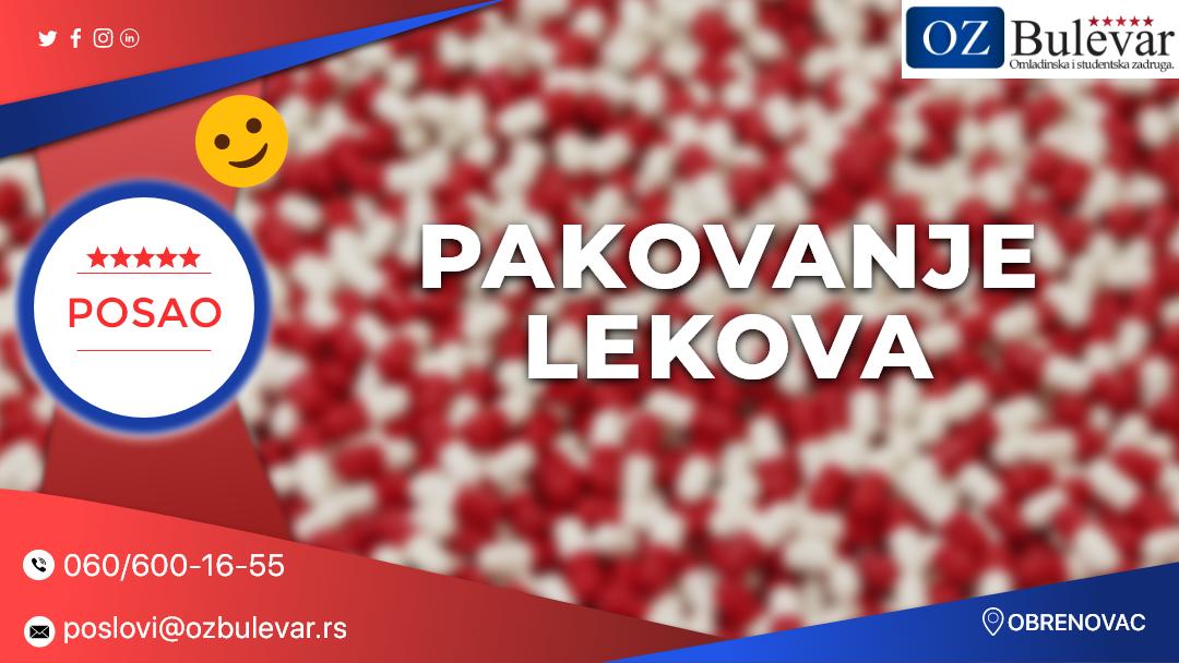 Pakovanje lekova / Oglasi za posao, Obrenovac