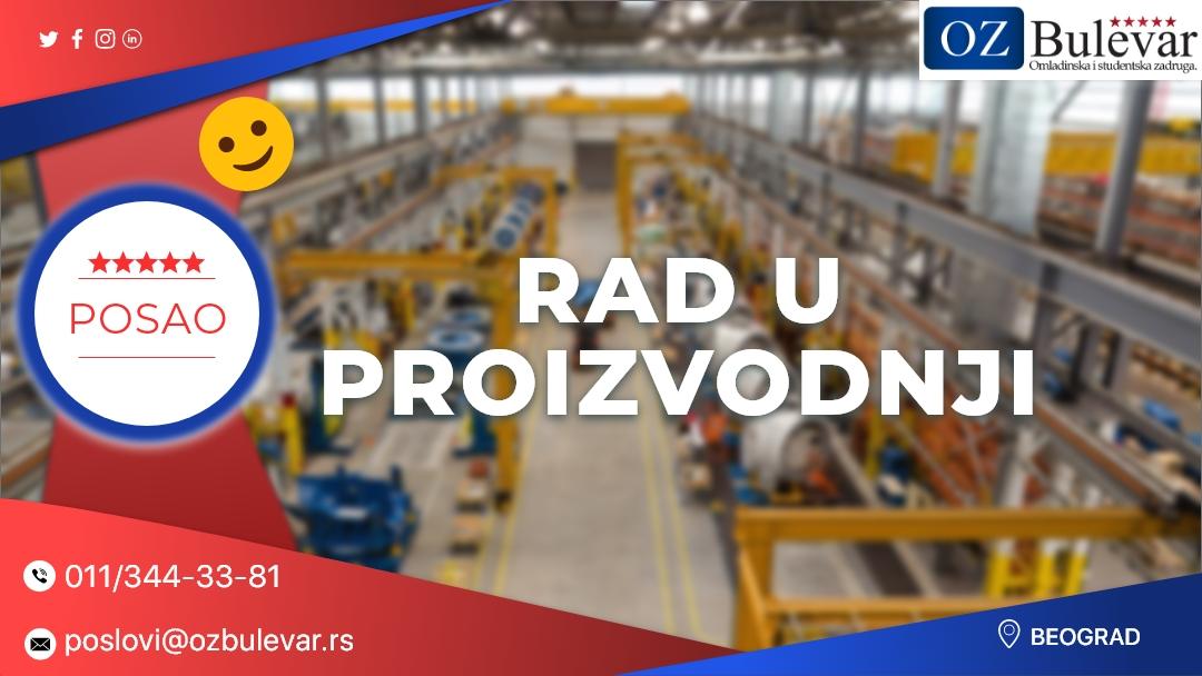 Rad u proizvodnji   Oglasi za posao, Beograd