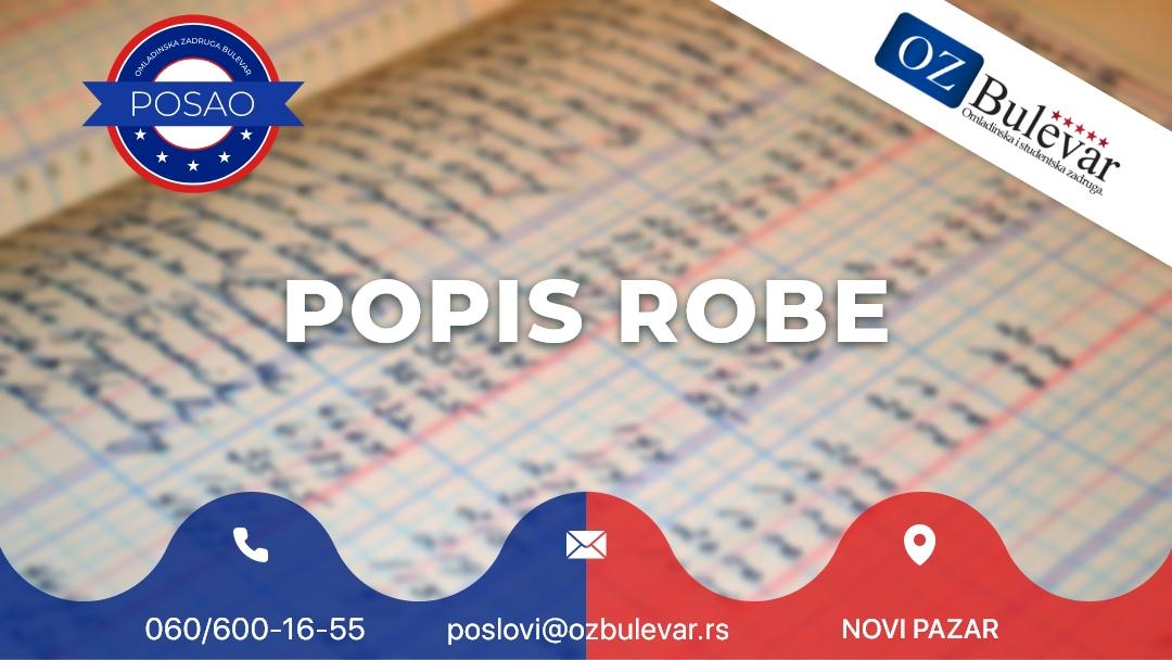 Popis robe | Oglasi za posao, Novi Pazar