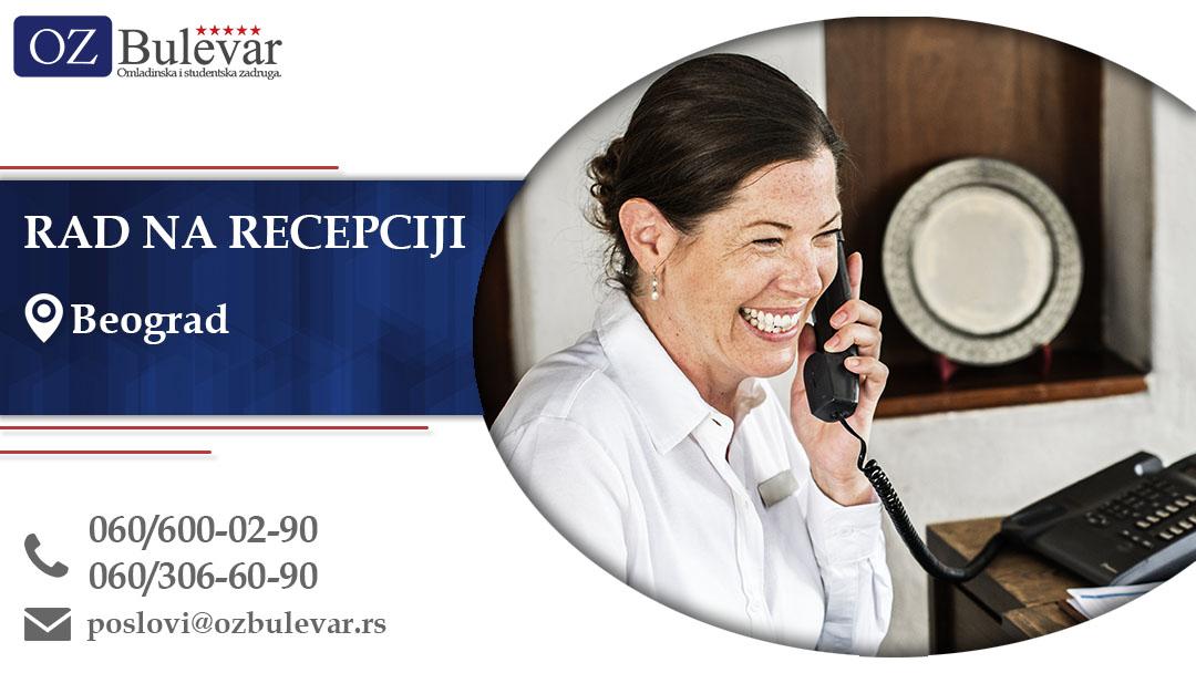Rad na recepciji | Oglas za posao, Beograd
